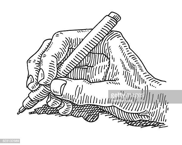 Writing Hand Holding Pen Drawing