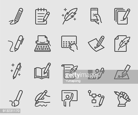 Writing, Signature, Note line icon set : stock vector