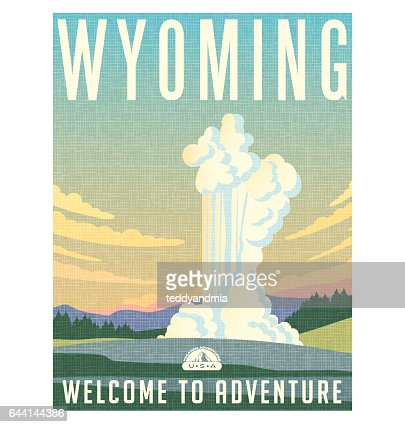 Wyoming travel poster or sticker. Vector illustration of water and steam erupting from geyser. : stock vector