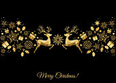 Christmas golden  decoration. Happy New Year black  background. Gold Xmas jumping  reindeer, holly, gifts and  snowflakes. Vector template  for greeting  card.