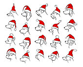 xmas happy new year 2018 outlined silhouettes of different  dogs heads profiles faces  portraits in black color, wearing colored in red and white christmas santa claus hats