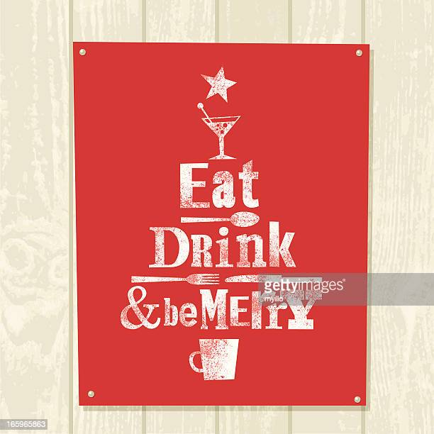 Xmas tree eat drink be merry illustration vector design