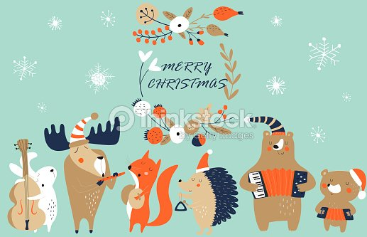 xmasmusicband2bluered : stock vector
