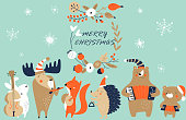 Vector christmas greeting card with cute music animal band in cartoon style