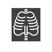 X-ray Glyph Related Vector Icon. Isolated on the White Background. Editable EPS file. Related Vector illustration.