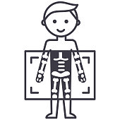 x-ray,medical diagnostics man  vector line icon, sign, illustration on white background, editable strokes