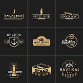 yachting and sailing vintage emblem template for nautical business. Vector illustration