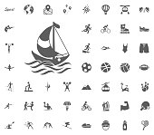 Yachting icon. Sport illustration vector set icons. Set of 48 sport icons