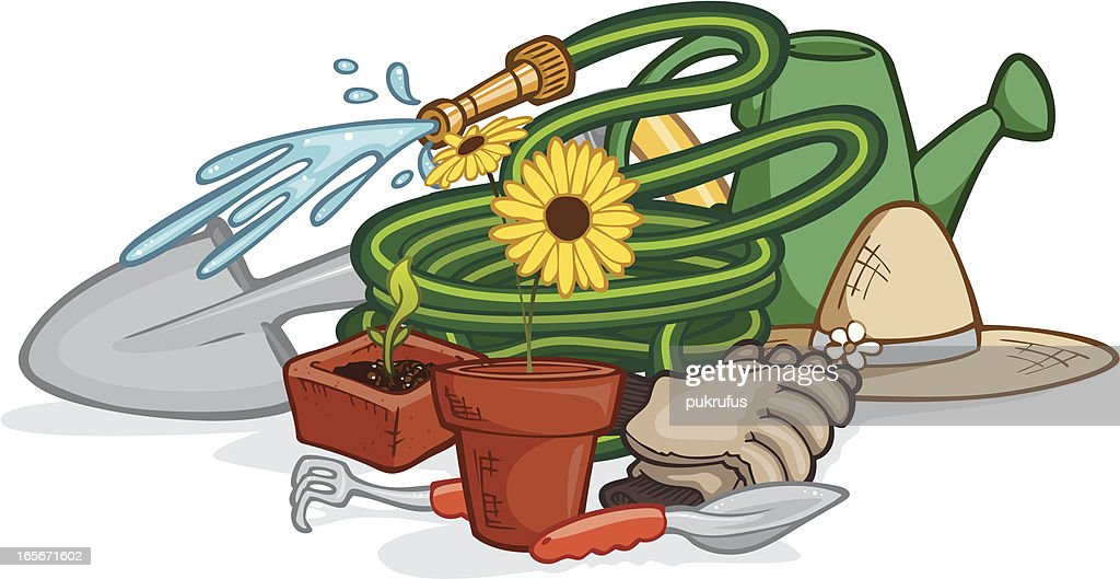 Yard work tools vector art getty images for Gardening tools cartoon