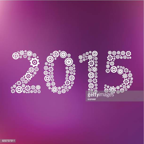 Year 2015 technology icons purple background