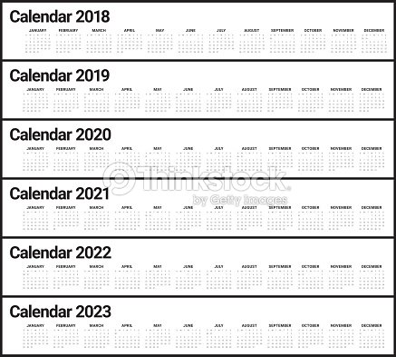 year 2018 2019 2020 2021 2022 2023 calendar vector vector art