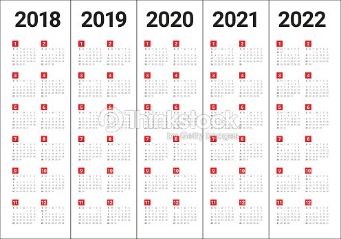 year 2018 2019 2020 2021 2022 calendar vector vector art