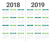 Year 2018 2019 calendar vector design template, simple and clean design