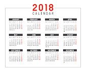 Year 2018 minimalist black and red calendar, on white background.