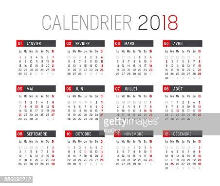 Year 2018 French Calendar Vector Art Thinkstock