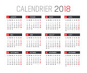 Year 2018 minimalist calendar, in French language, on white background. Vector template