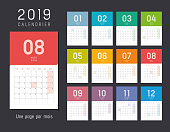 Year 2019 colorful calendar, in French language - Vector template.