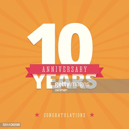 10 year anniversary card : stock vector