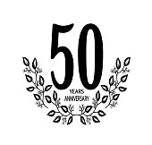 50 year anniversary celebration card - Vector