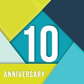 10 ten year anniversary colorful template with number, text label and geometry shapes in flat material design style. Ideal for poster or card. EPS10 vector.
