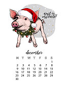 Year calendar with pig. Monthly illustrations. Hand drawn piglet wearssanta hat and fir wreath. December. Cristmas, Xmas, New year. Vector poster, cute flyer, wall banner, planner. Colored portrait