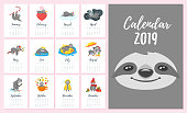 Vector cartoon style illustration of 2019  year monthly calendar. Template for print. Cute sloth character different activities and situations on every page. White background.
