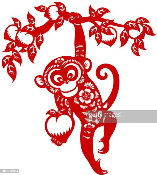 Year of the monkey papercut art