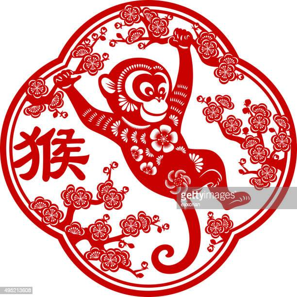 Year of the monkey papercut frame art