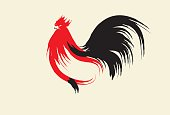 Freestyle Chinese brush stroke of Rooster