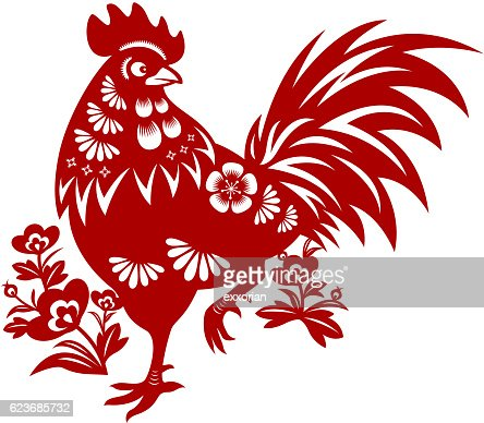 year of the rooster papercut vector art getty images