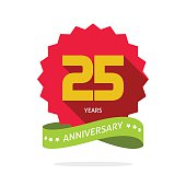 Years 25 anniversary vector label logo, shadow on circle, number 25, 25th years anniversary icon. Twenty fifth birthday party symbol, promotion sale sticker ribbon, poster, emblem