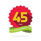 Years 45 anniversary vector label logo, shadow on star, number 45 four five, 45th years anniversary icon. Forty five birthday party symbol. Forty fifth promotion sale sticker ribbon, poster, emblem