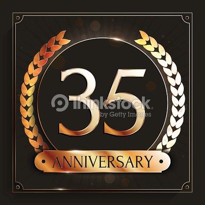 35 Years Anniversary Banner 35th Anniversary Gold Emblem On Dark