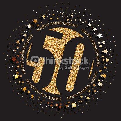 50 Jahre Jubilaum Banner 50 Geburtstag Gold Auf Dunklem Hintergrund