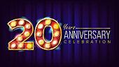 20 Years Anniversary Banner Vector. Twenty, Twentieth Celebration. Lamp Background Digits. For Flyer, Card, Wedding, Advertising Design. Business Background Illustration