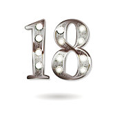 18th silver anniversary , ten years birthday celebration solated on white background