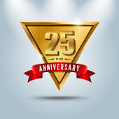 25 years anniversary celebration emblem. Golden anniversary emblem with red ribbon. Design for booklet, leaflet, magazine, brochure, poster, web, invitation or greeting card. Vector illustration.