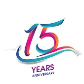 fifteen years anniversary celebration logotype blue and red colored. 15th birthday logo on white background.