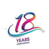 eighteen years anniversary celebration logotype blue and red colored. 18th birthday logo on white background.