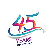 forty five years anniversary celebration logotype blue and red colored. 45th birthday logo on white background.