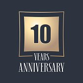 10 years anniversary celebration vector icon. Template design element with golden number for 10th anniversary greeting card