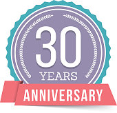 30 Years anniversary emblem, vector eps10 illustration