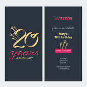 20 years anniversary invitation to celebrate vector illustration. Design template element with golden number and text for 20th birthday card, party invite