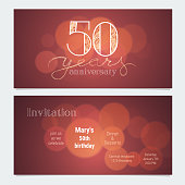 50 years anniversary invitation to celebration vector illustration. Graphic design element with bokeh effect for 50th birthday card, party invite