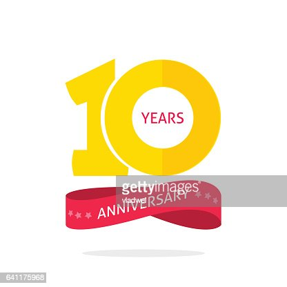 10 years anniversary logo template, 10th anniversary icon label, ten year birthday party symbol : stock vector