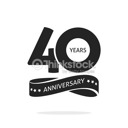 40 years anniversary logo template isolated black and white stamp