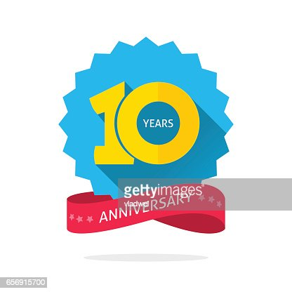 10 years anniversary logo template with shadow on blue color rosette and number : stock vector