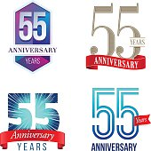 A Set of Symbols Representing a Fifty-Fifth Anniversary/Jubilee Celebration