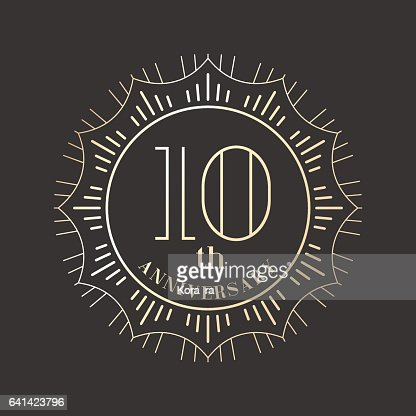 10 years anniversary vector icon, logo : stock vector