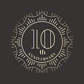 10 years anniversary vector icon, logo. Graphic design element for 10th anniversary birthday card